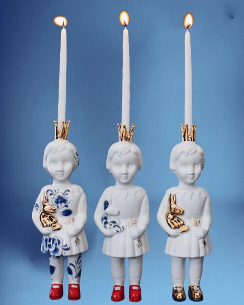 Lammers en Lammers Mini Pupke Delftsblauw met Kroontje en Rode Schoentjes