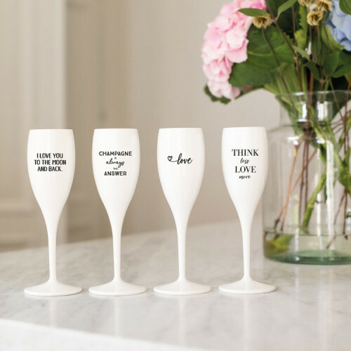 Koziol Champagne glas Cheers THINK LESS LOVE MORE
