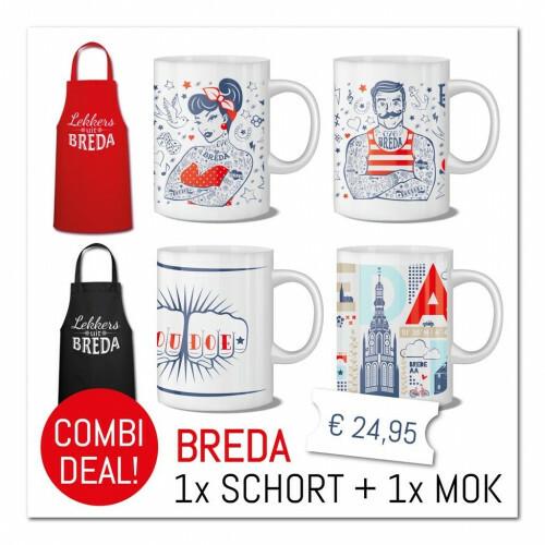 """Combi-Deal : Schort Rood """"Lekkers uit Breda"""" met mok """"Houdoe"""""""