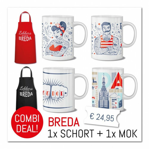 """Combi-Deal : Schort Rood """"Lekkers uit Breda"""" met mok """"de Breda Man"""""""