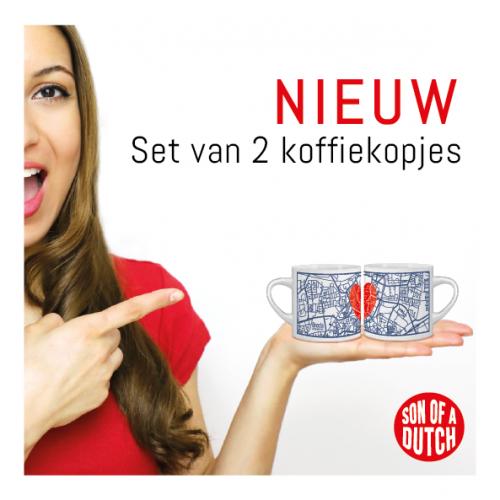Koffiekopjes Breda Plattegrond met Hart Set van 2