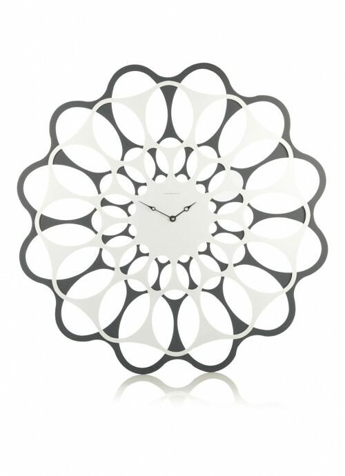 Diamantini wandklok Double Lotus 40 Wit-Grijs