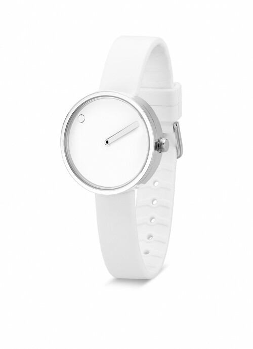 PICTO WATCH THE ORIGINAL 30 MM STAAL / WIJZERPLAAT WIT / SILICONEN BAND WIT