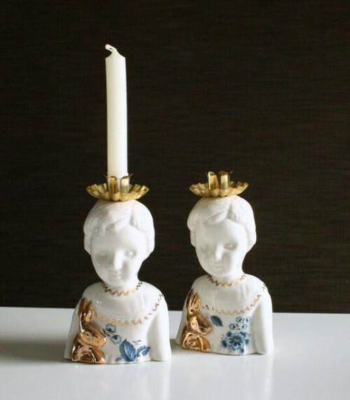 Lammers en Lammers Half Pupke Kandelaar Delfts Blauw