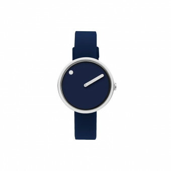 PICTO WATCH THE ORIGINAL 30 MM STAAL / WIJZERPLAAT ZWART / SILICONEN BAND ZWART