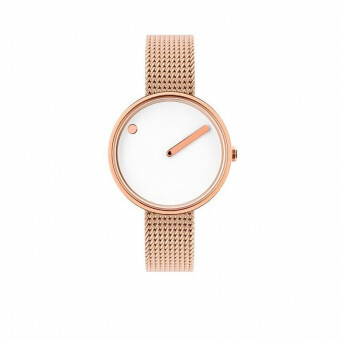 PICTO WATCH THE ORIGINAL 30 MM ROSE STAAL / WIJZERPLAAT WIT / BAND MILANEES ROSE