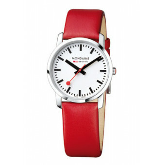 MONDAINE SIMPLY ELEGANT LADY POLISHED 36 RED STRAP
