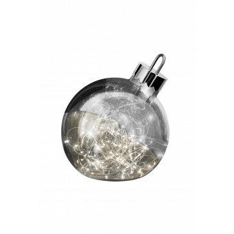 Sompex Kerstbal met verlichting ZILVER 20 cm