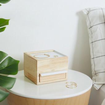 Umbra Stowit Mini Sieradendoos Naturel hout en staal