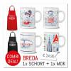 """Combi-Deal : Schort Rood """"Lekkers uit Breda"""" met mok """"de Breda Vrouw"""""""